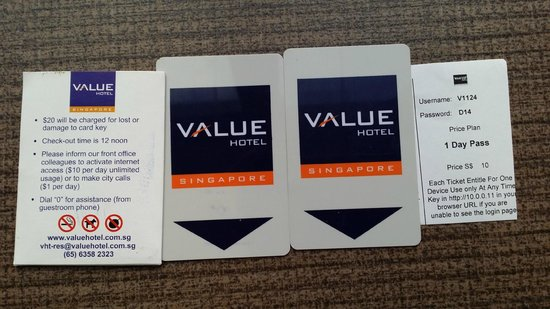 Wifi coupon and key cards picture of value hotel thomson value hotel thomson wifi coupon and key cards reheart Images