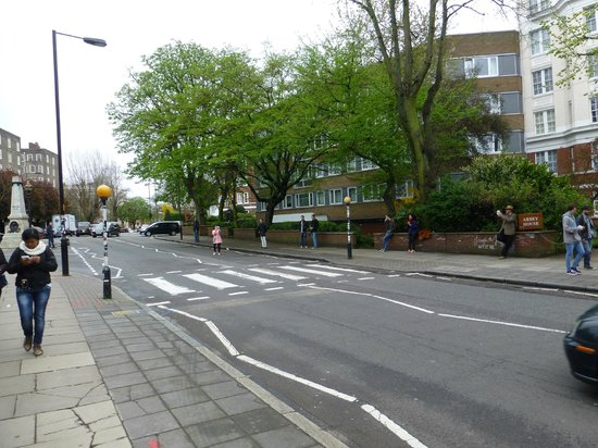 The famous Abbey Road Crosswalk - all that is missing is the Beatles
