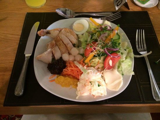 My lovely salad for tea at the priory lodge hotel