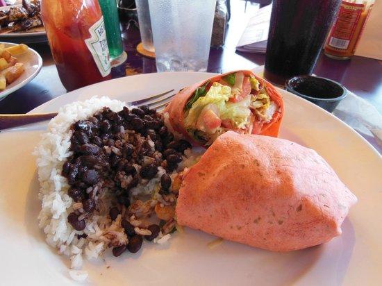 Iguana Joe's Caribbean Bar & Grill: Lunch Beans and Rice and Shrimp,Bacon Wrap