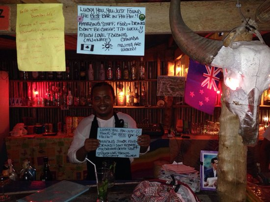 Buffalo Head Bar: The owner holding one of the 2 signs I made because this place was so amazing!! You MUST go here