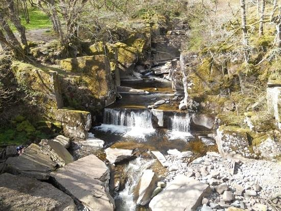 Bracklinn Falls Bridge and Callander Crags : the Falls