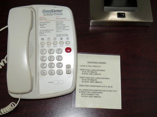 Lowell Center: Shockingly high prices to use the room phone
