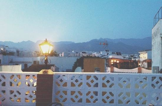 Twilight on the roof terrace at Hostal Miguel