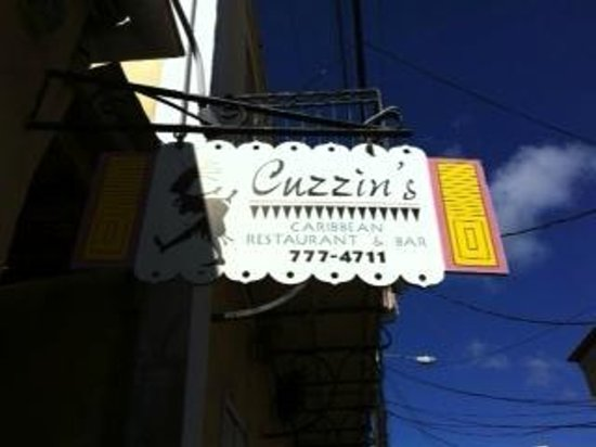 Cuzzin's Caribbean Restaurant and Bar: Front sign