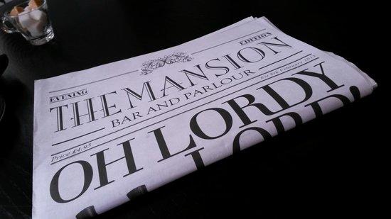 Mansion Bar and Parlour: The menu