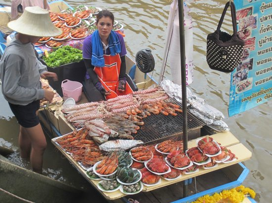 Bangkok Food Tours Floating Seafood Restaurant Serving Grilled Take Out