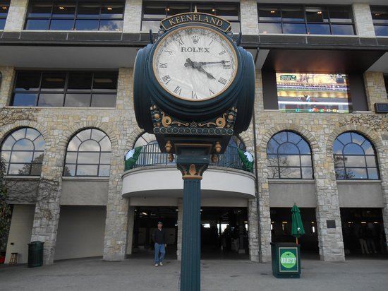 Keeneland: Rolex at entrance to grandstand.
