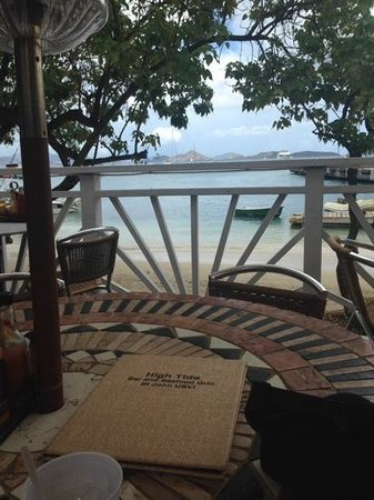 High Tide Bar & Seafood Grill : view of Cruz Bay from High Tide