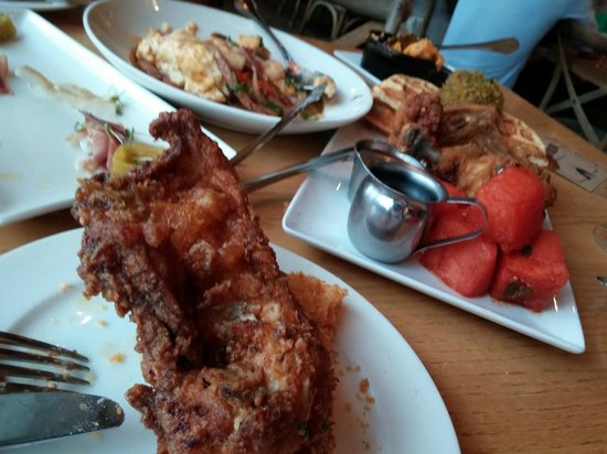 Yardbird - Southern Table & Bar : Chicken/watermelon/waffle and shrimp & grits