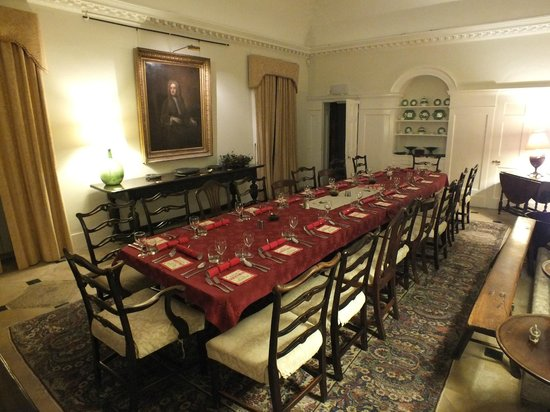Cadhay: The dining room laid for Christmas Dinner