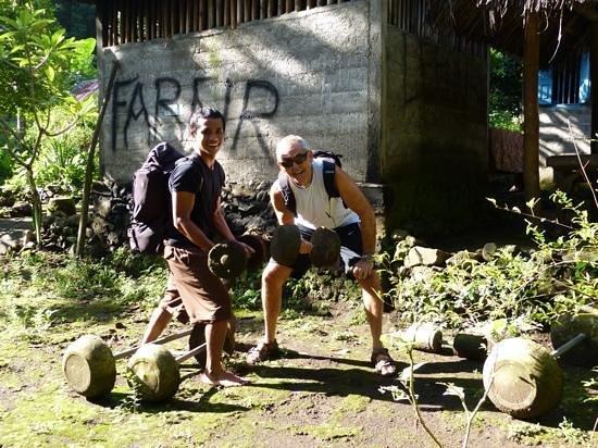 Spa Village Resort Tembok Bali: outdoor gym, on the waterfall walk