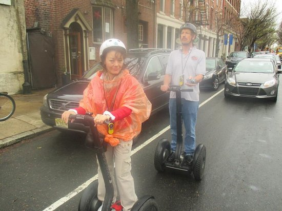 Philly Tour Hub: According to Owen, the group of Segways is just another vehicle on the street.