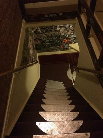 Hostel Meeting Point: Stairs up to rooms.