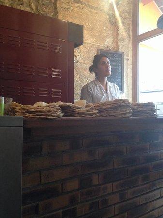 Urfa Dürüm : Near the oven prepping the dough for sandwiches