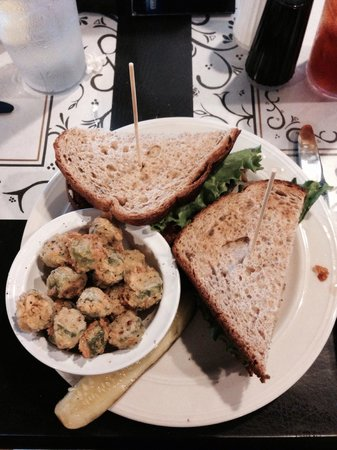 The 4th of May Cafe: Fried Green tomato BLT on whole wheat with fried okra.