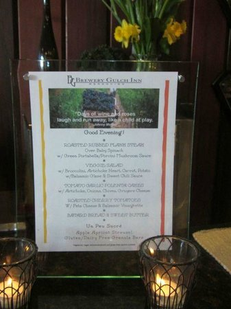 Brewery Gulch Inn: Breakfast Menu