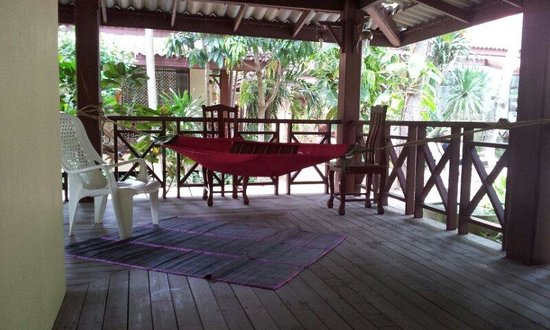 Bayview Beach Resort: The other side of the bungalow terrace enough to hang your own swing even thought the beach side