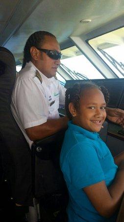 Yasawa Flyer Ferry : Captain Tomas of the yasawa flyer n daughter shona