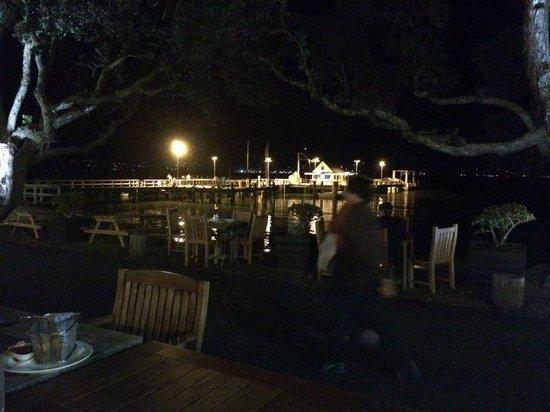 Duke of Marlborough: view of pier at night
