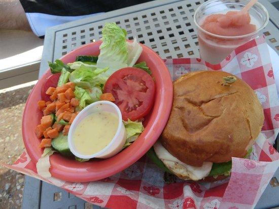 Hilton Orlando: at pool bar, green salad and burger