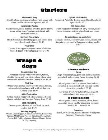 Black Rok Ale House: Menu