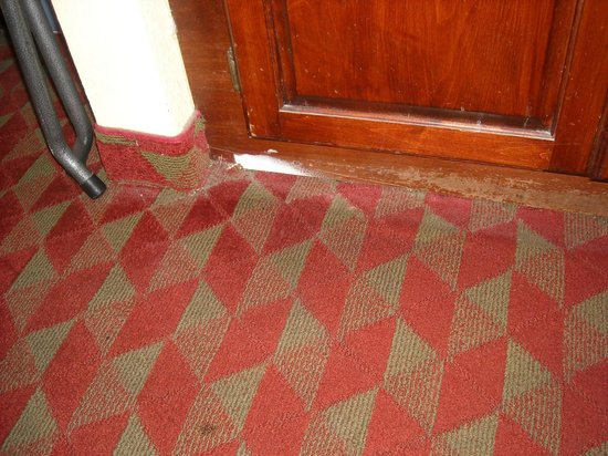 Days Inn Charleston Historic District: Cut away carpet and water damage to cabinet