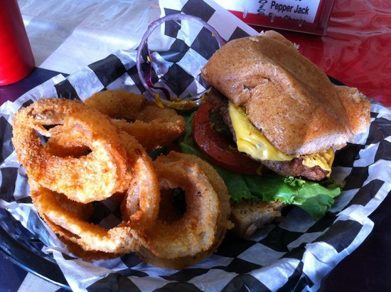 Ricky's Thick & Juicy Burgers : Cheeseburger on wheat sourdough w/ onion rings