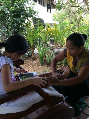 Nurture Wellness Village : My princess with her foot massage.