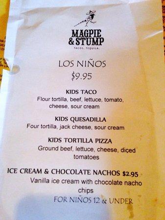 Magpie & Stump: Kids menu