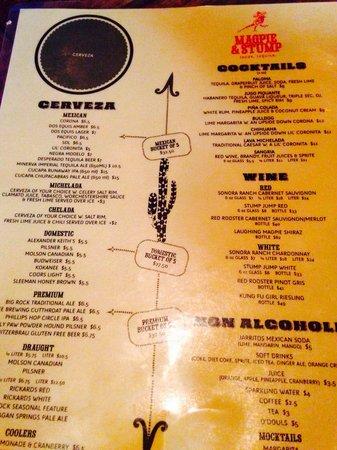 Magpie & Stump: Drinks menu