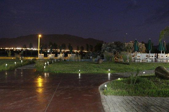 Casa Hacienda Nasca Oasis: Zona de la piscina de noche