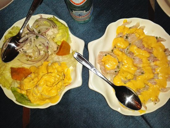 Restaurante Machu Picchu: ceviche clasico y huancaina.