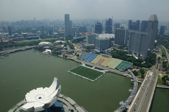 Marina Bay Sands Skypark: View from the visitor area of the sky deck