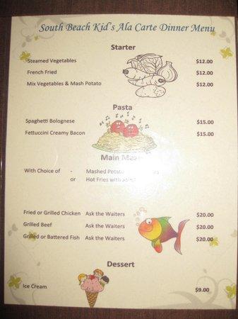 Mana Island Resort: South Beach Restaurant Kids Menu