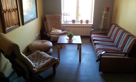 Looming Hostel: living room