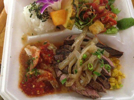 Ala Moana Center : シュリンプとステーキのコンボ とても柔らかいお肉でした
