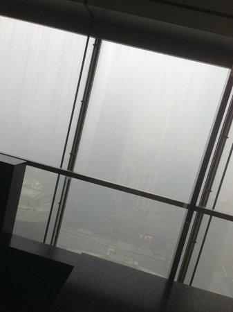 Park Hyatt Beijing: view from hotel restaurant towards WTC thru pollution
