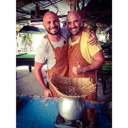 The Kitchen Restaurant Kata Beach & Thai Cooking Class: Cooking our sticky rice!