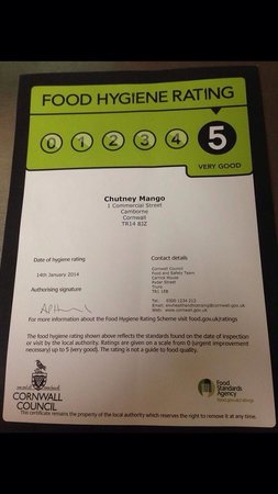 chutney mango: Only 5 star rated Indian in Camborne