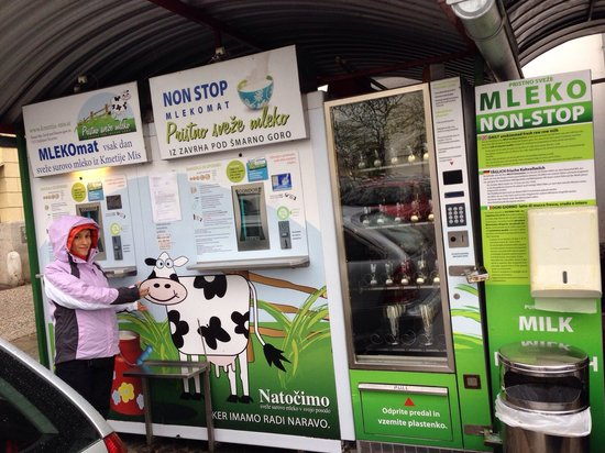 Vodnik Square (Vodnikov trg): Don't miss the fresh milk vending machine... Anywhere from 100ml to a liter