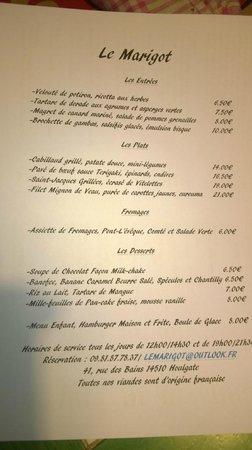 Le Marigot : Menu de Paques