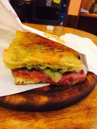Salumeria Verdi - Pino's Sandwiches: Salami, mozzarella, Sun Dried Tomatoes, and pesto sauce. Absolutely mouth watering!