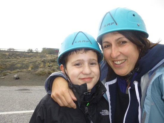 Etna Experience Excursions: Aunty Vas and Jorge getting ready to enter the lava cave