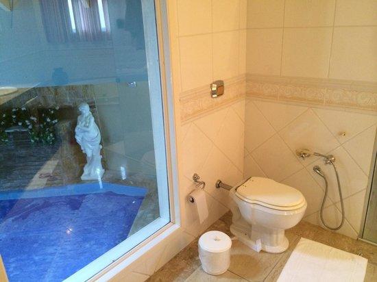 Motel Avenida: Coisas de motel: vista da piscina, a partir do banheiro (Suite Real)
