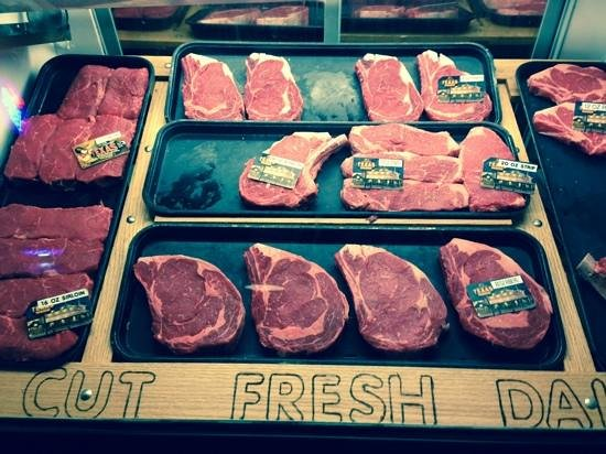 Texas Roadhouse: we couldnt resist taking a photo of the meat counter!