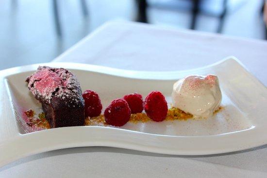 Restaurant Botanica - Chocolate and raspberry financier, vanilla bean ...
