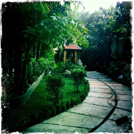 Tanei Boutique Villa: walkway with water feature