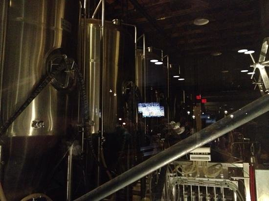 Lumberyard Brewing Company: the brew room view from the table