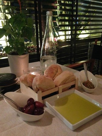 Eat at Milton's: fresh baked bread with olives.